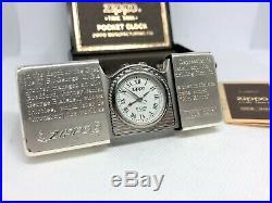 ZIPPO Limited Model Time Tank Alarm Pocket Watch w Case Silver
